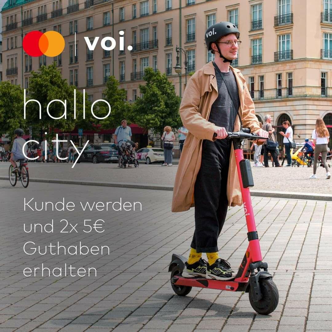 [Nur Voi Neukunden mit MasterCard] Voi e-Scooter 2 x 5€ Guthaben