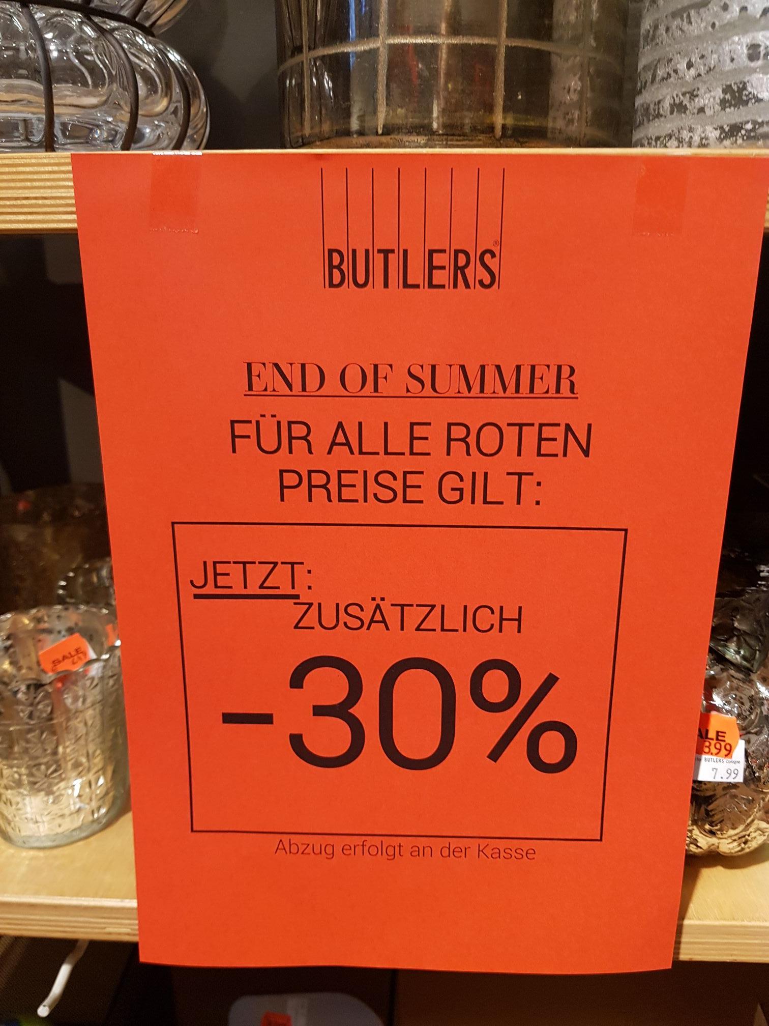 Butlers -30% zusätzlich zu reduzierter Ware [Lokal] Leipzig