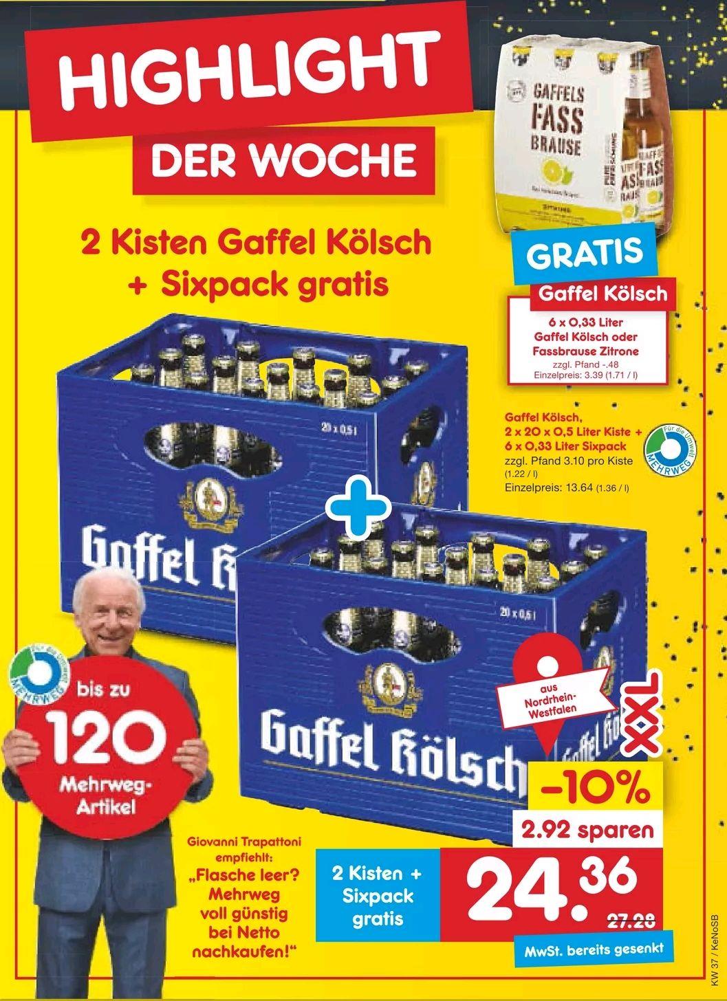 [Netto MD] Sammel-Deal 2x Bierkiste kaufen, 1x Sixpack gratis (lokale Unterschiede)