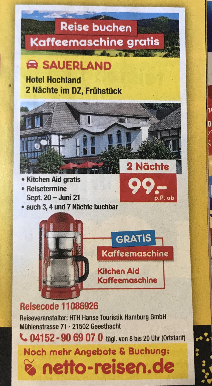 2 Nächte im DZ & Frühstück, Hotel Hochland + Kitchen Aid Kaffeemaschine gratis