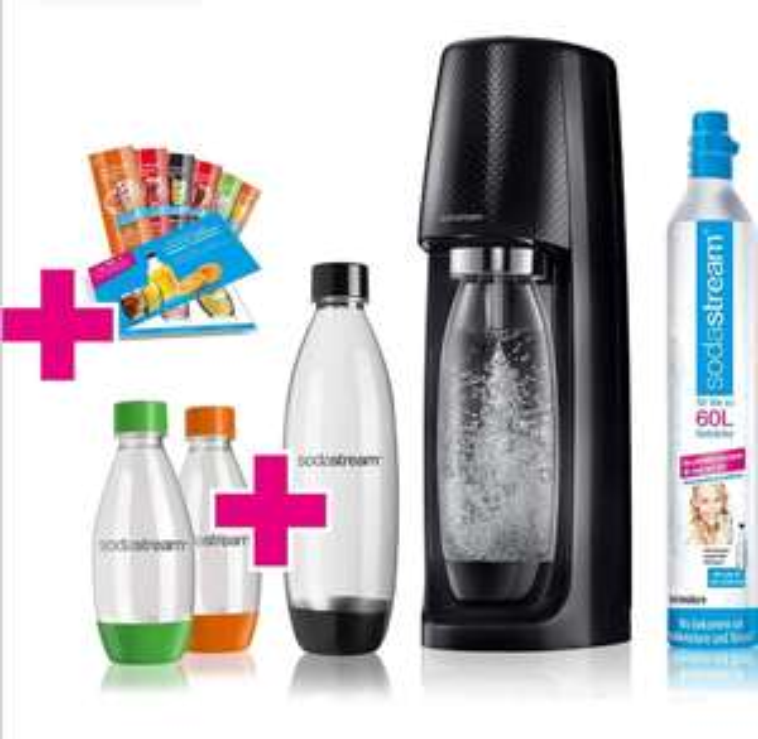 SodaStream Easy Wassersprudler-Set Vorteilspack mit CO2- Zylinder, 2x 1 L PET-Flasche, 2x 0,5 L PET-Flasche, 6x Sirupproben [Amazon]