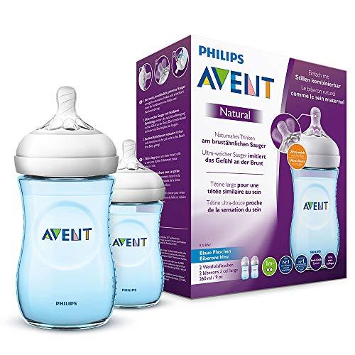 Philips Avent Natural Flasche, 260 ml, naturnahes Trinkverhalten, Anti-Kolik-System (Blau) 2er Pack für 11,40€ (Amazon Prime)