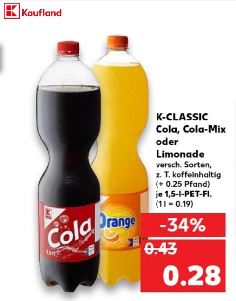 Cola/Limonade K-CLASSIK für 18⅔ Cent/Liter [Kaufland]