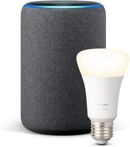 AMAZON Echo Plus (2. Gen.) Smart Speaker + PHILIPS Hue White E27 Bluetooth LED Lampe Warmweiß