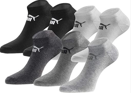 18 Paar Sneakersocken von Puma in 5 Farbkombis, Gr. 35 - 49 [Prime] 1,39€ pro Paar