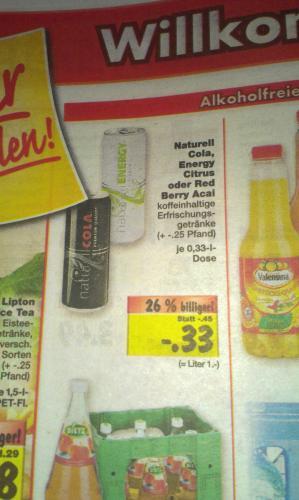 Naturell Energy Drinks Cola Zitrone BlueAcai Kaufland Ruhrgebiet  0,33€ Dose