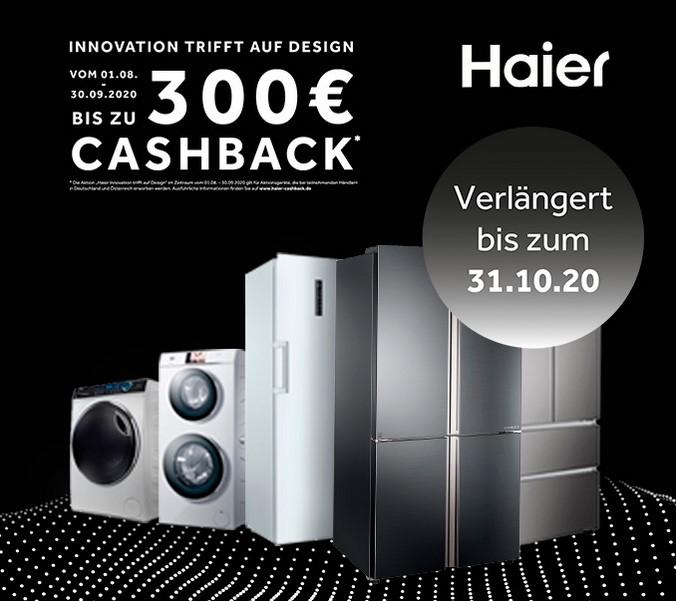 Haier Aktion / bis zu 300 € Cashback / Waschtrockner / Waschmaschine / Gefrierschrank / Toploader / Side by Side Kühlschrank / French Door