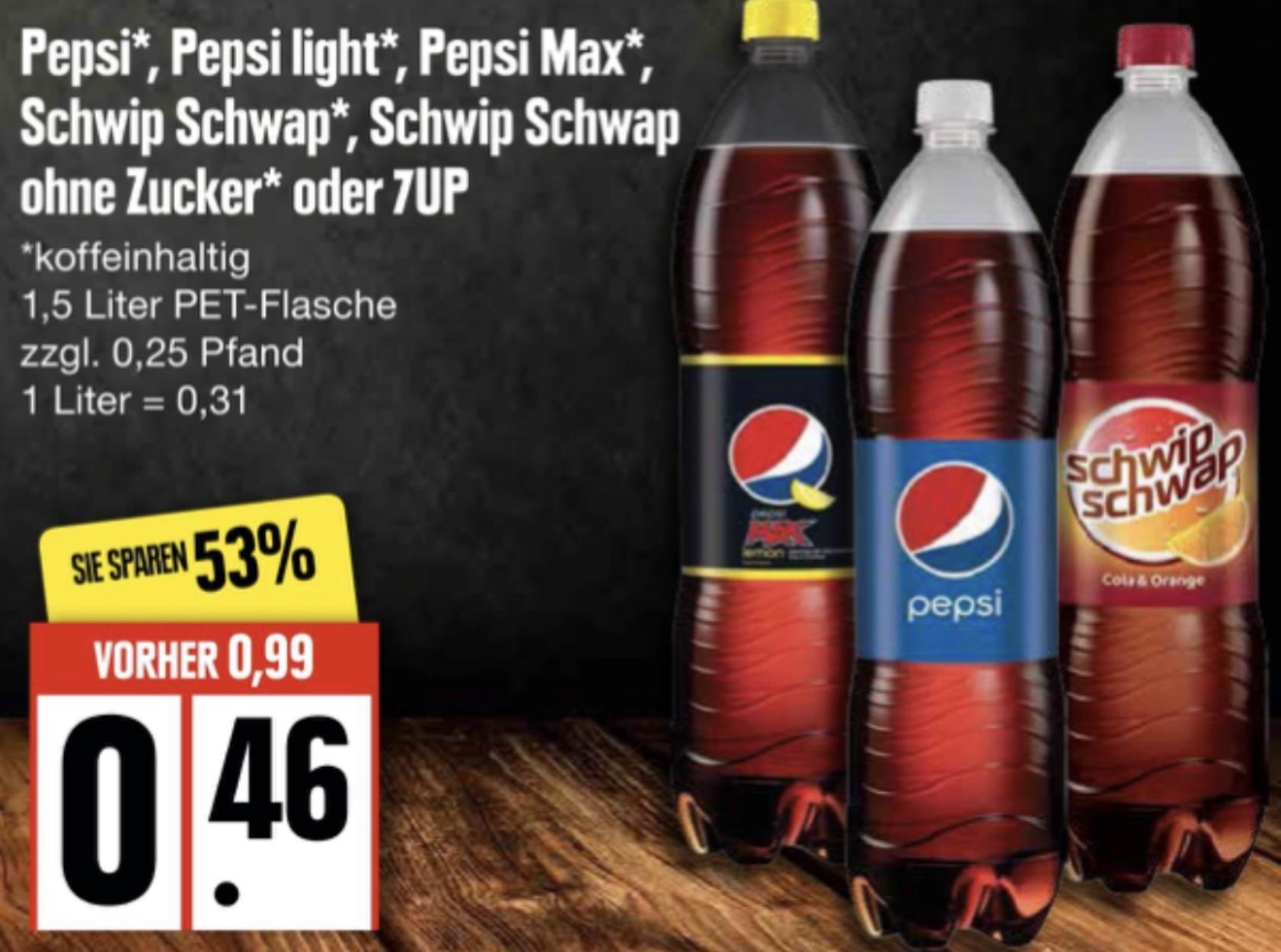 Pepsi, 7UP, Schwip Schwap je 1,5 Liter für 0,46€ / mit Rabatt 0,37€ bzw. 0,32€ je Flasche möglich!