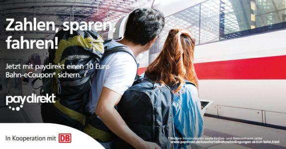 10 € Deutsche Bahn eCoupon bei Zahlung mit paydirekt ab 29,90 € MBW - bis 23.10. (Einlösung nur einmal pro DB-Konto)