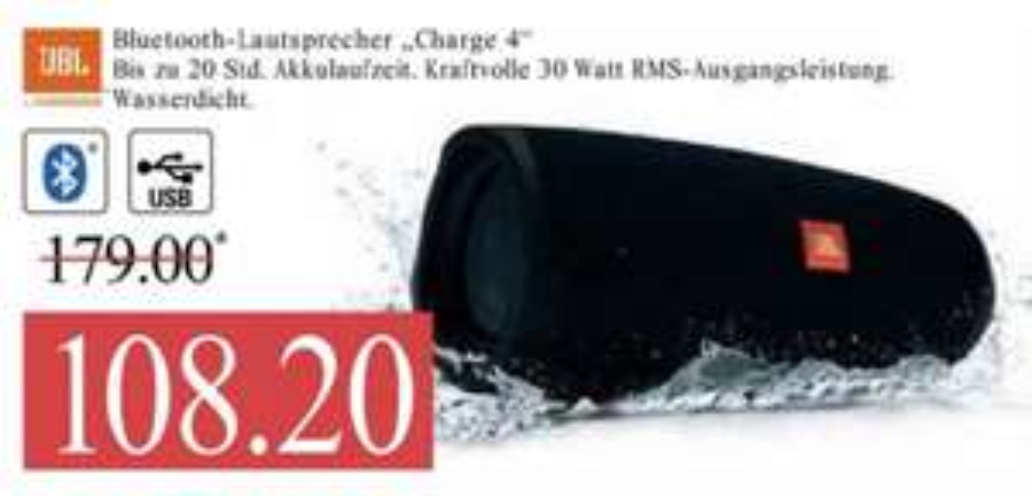 [Marktkauf Nord] JBL Charge 4 Bluetooth Lautsprecher schwarz (Powerbankfunktion, wasserdicht gemäß IPX7) für 90.88€ mit Kleberabatt
