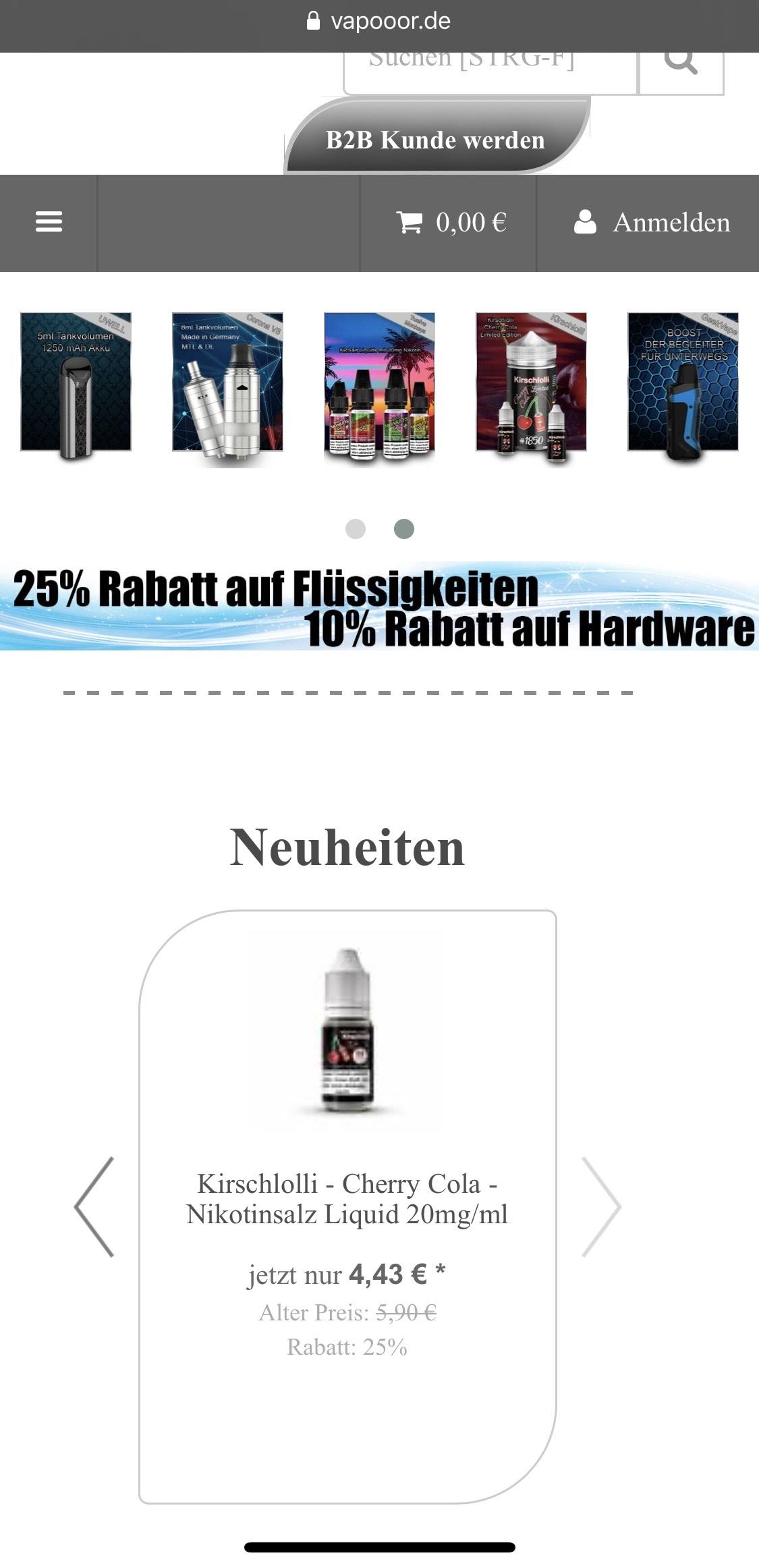 vapooor.de 25% und 10% Rabatt auf Verdampfer, Dampfer, Liquid, Aroma E Zigaretten