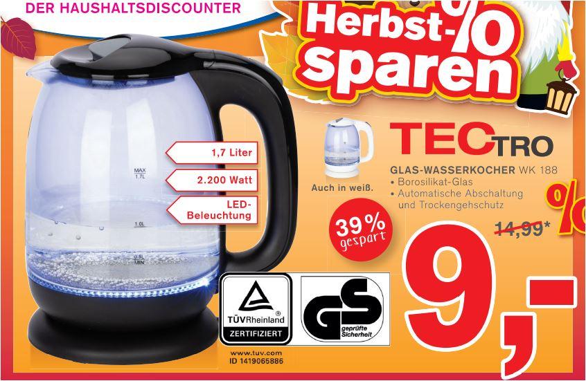 Glaswasserkocher TecTro WK 188, 1,7 Liter, 2200 W, mit LED-Beleuchtung für 9,00 Euro [Kodi-Filiale]