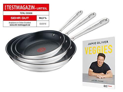 [Amazon] Tefal Jamie Oliver Pfannenset, 3-teilig, bestehend aus E85602 20cm, E85604 24cm, E85606 28cm, Edelstahl