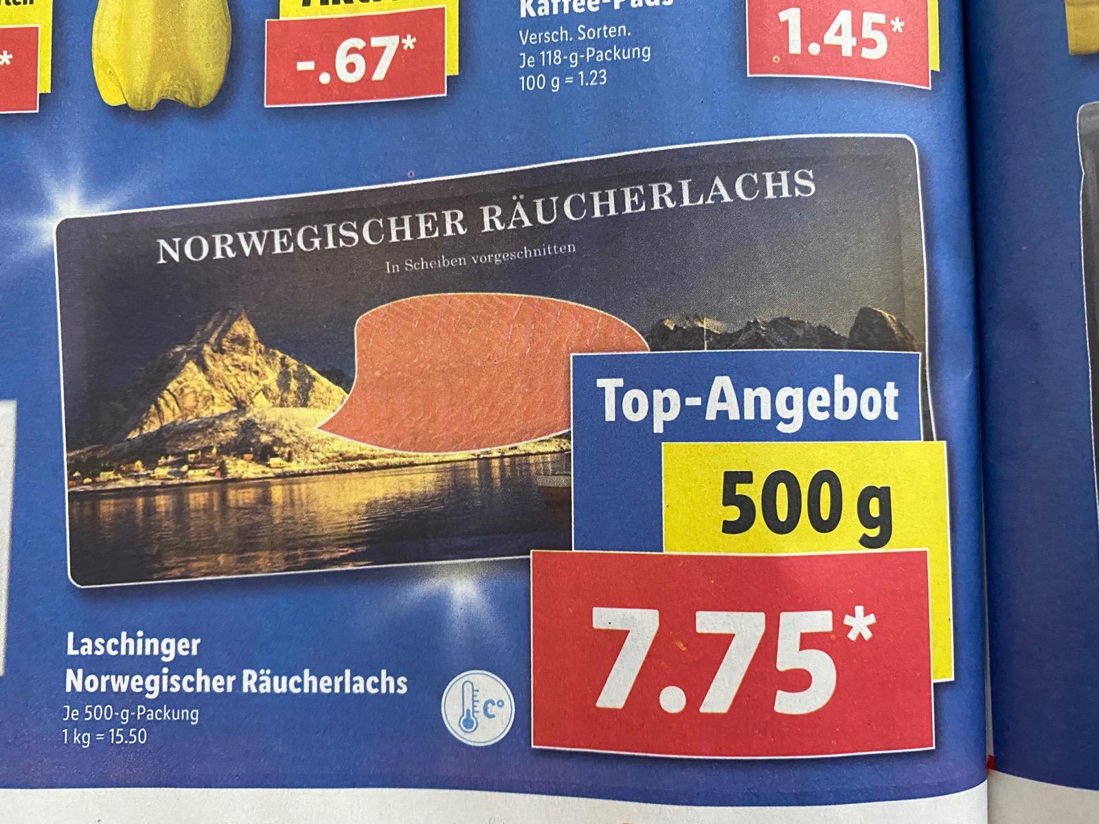 Norwegischer Räucherlachs bei LIDL im Angebot - 500gr für 7,75€