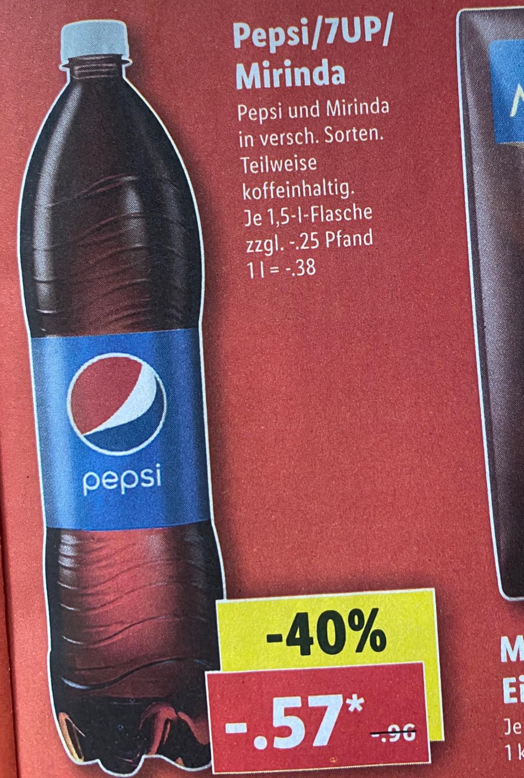Pepsi / 7UP / Mirinda je 1,5l Flasche nur 57 Cent