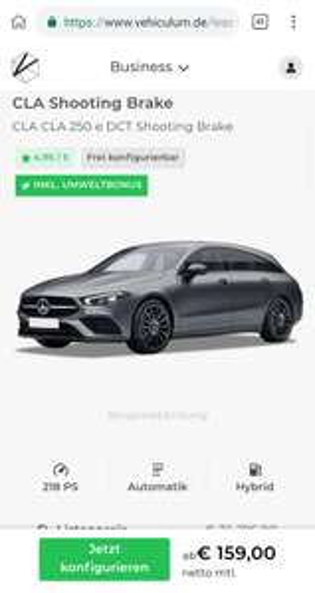 [Gewerbe-Leasing] Mercedes CLA Shootingbrake Hybrid - CLA 250 e DCT (218 PS) - ab mtl. 159€ Netto - konfigurierbar