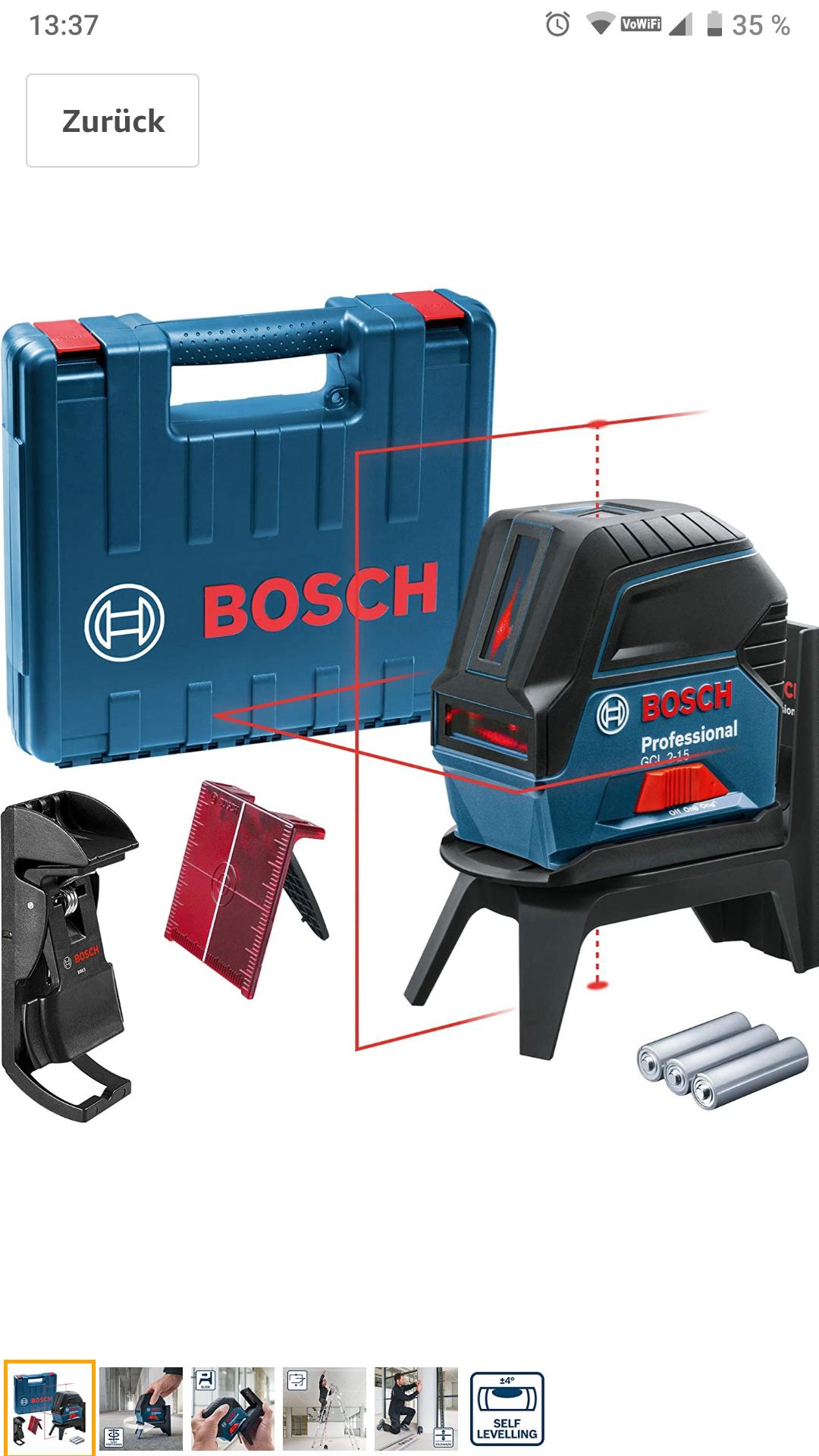 Bosch Professional Kreuzlinienlaser GCL 2-15 mit viel Zubehör (bitte Beschreibung lesen!!!) best Preis in diesem Set