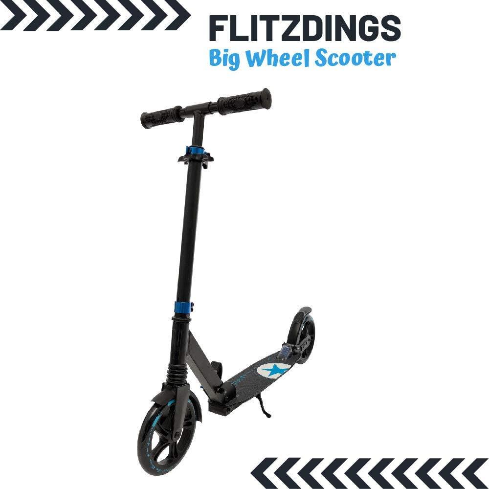 Outzone Tretroller(Scooter) für Kinder ab 6 mit Federung, 4-Fach höhenverstellbar, einklappbare Handgriffe, große Trittfläche