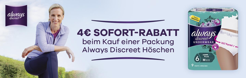 Always Discreet Höschen - 4€ Rabatt