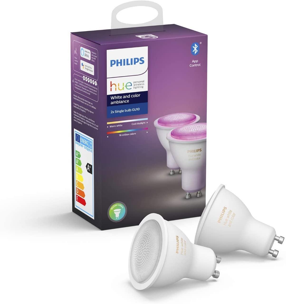 (lokal, vereinzelte Filialen) 2er Set Philips Hue LED-Leuchtmittel-Set White & Color Ambiance GU10 für 70,18 Euro bei Bauhaus