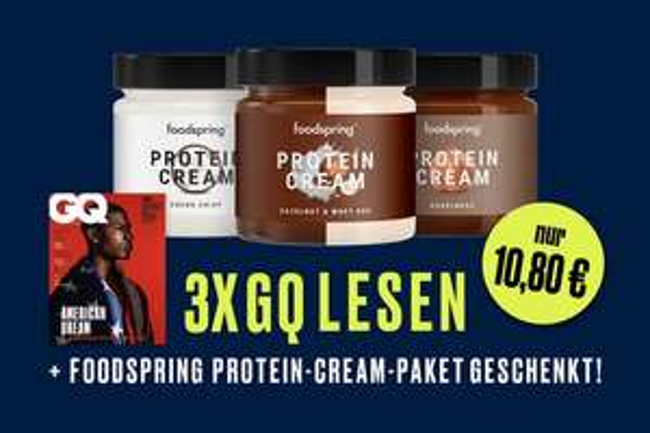 3 Ausgaben GQ + 3 Gläser Foodspring Protein Cream (Kündigung notwendig)