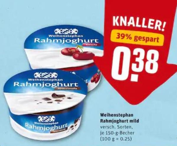[Reebate] Weihenstephan Rahmjoghurt effektiv gratis bei Rewe & Netto MD // FREEBATE mit 2c Gewinn