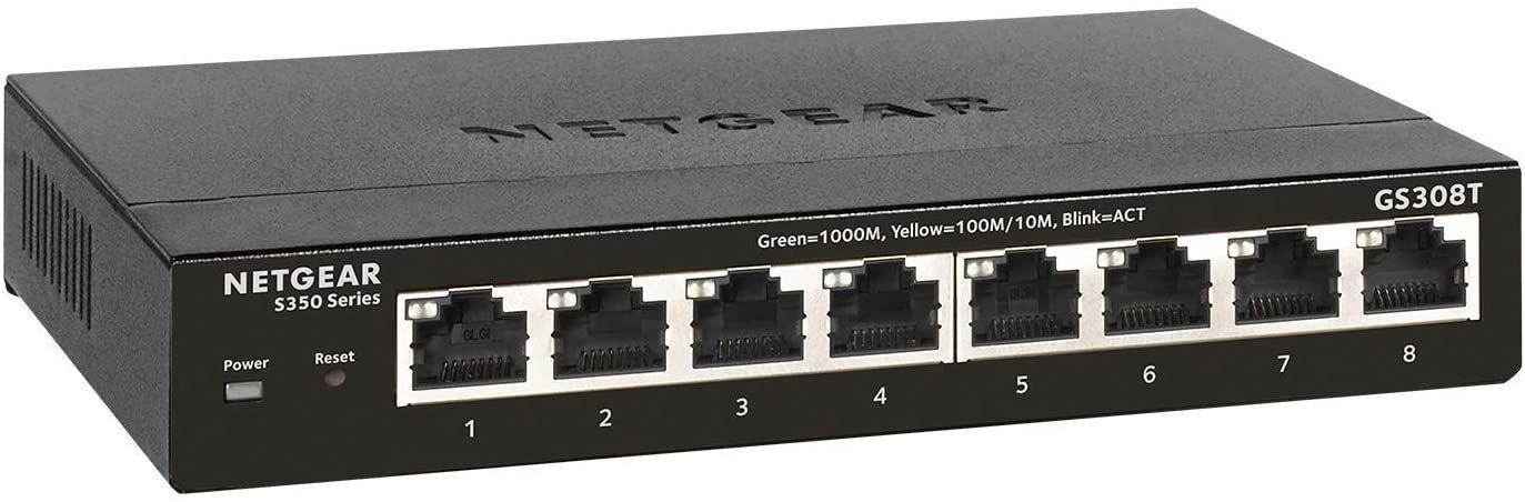 Netgear GS308T Smart Managed Pro Switch (8xGbit, advanced VLAN + QoS, ACL, IPv6, STP, SNMP, IGMP, LACP, STP, Radius, 5 Jahre Garantie)