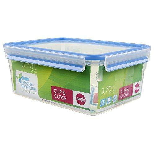 Emsa Clip & Close Frischhaltedose Rechteckige mit Deckel, 3.7 Liter, Transparent/Blau für 5,83€ (Amazon Prime)