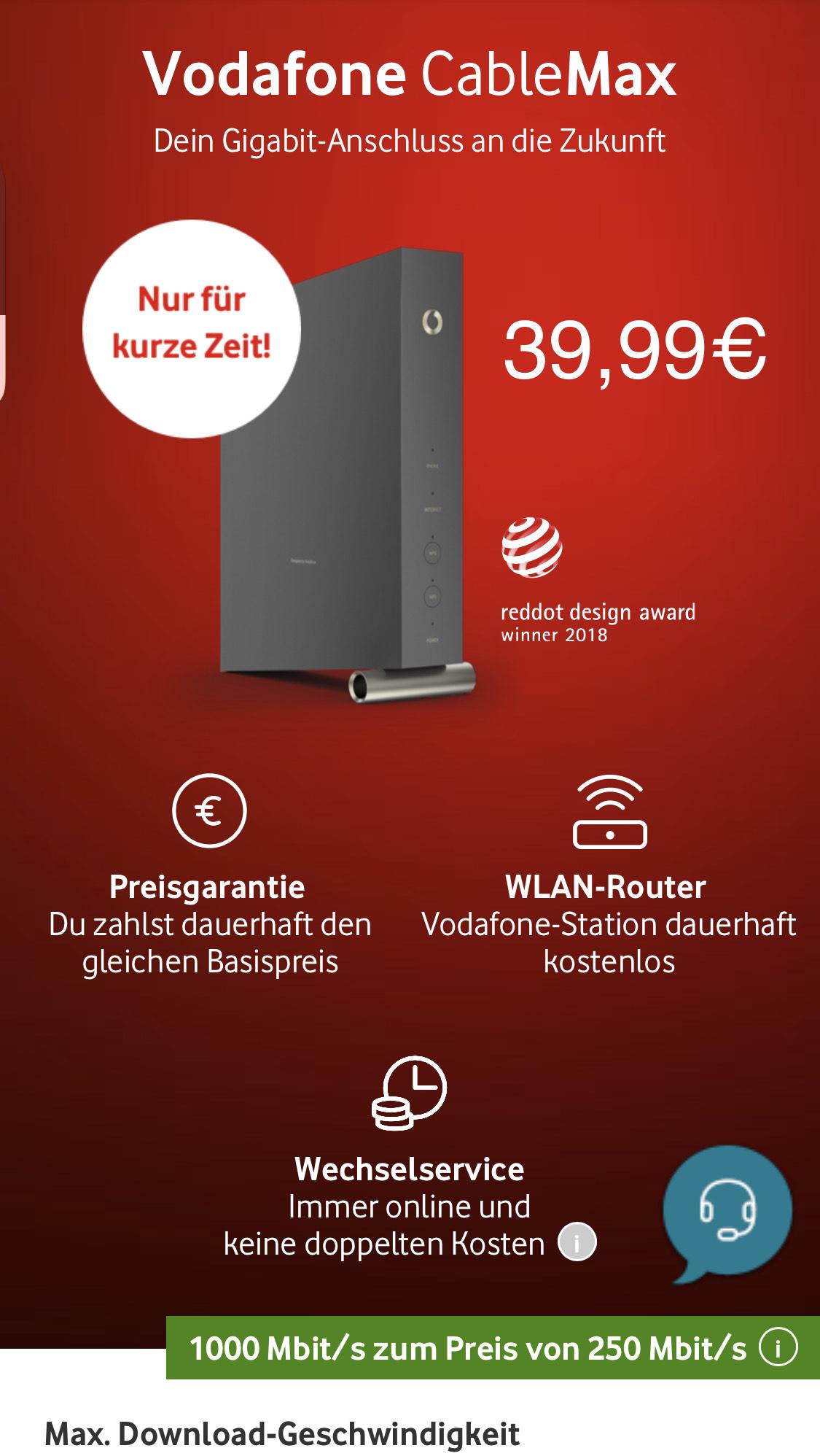 Vodafon Cable Max (1000Mbit/s) für dauerhafte 39,99€