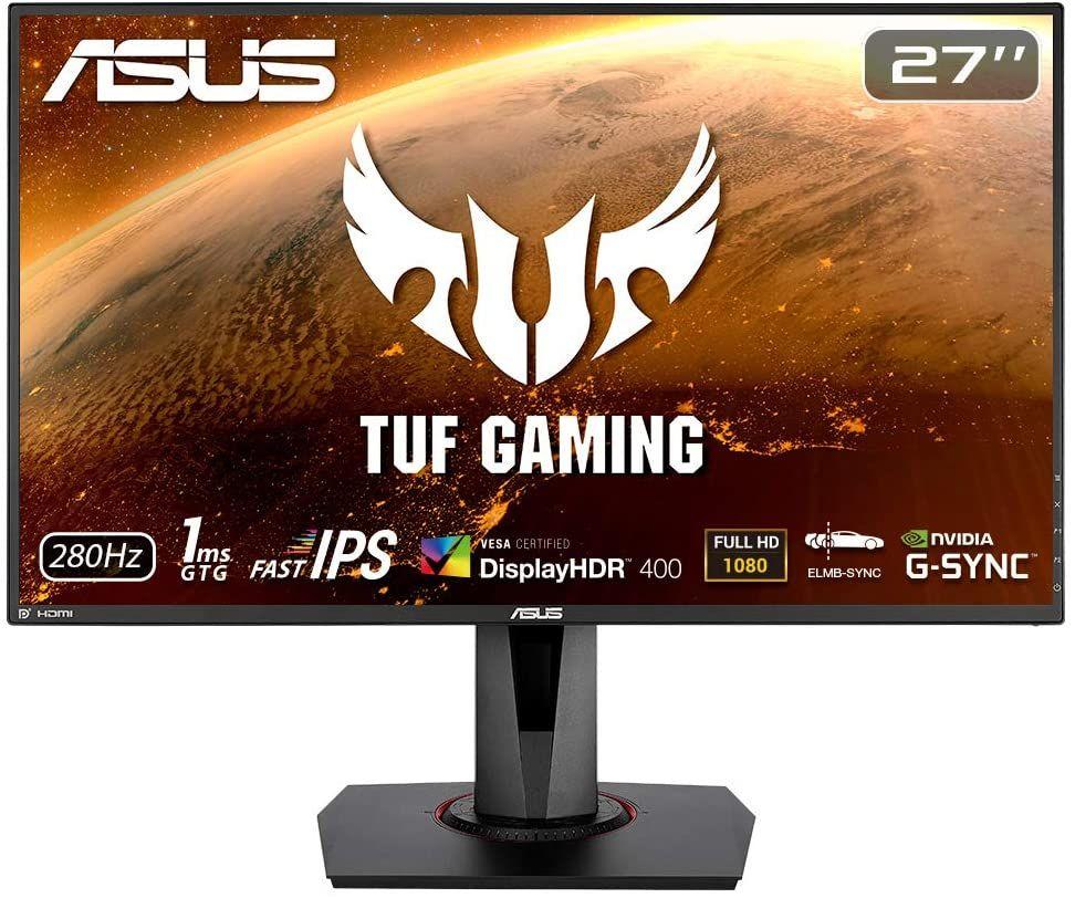 "Asus TUF Gaming VG279QM - 27"" Monitor (280 Hz, FHD, Fast IPS, 1ms, Nvidia G-Sync, adaptive Sync, HDR 400, DisplayPort, HDMI, Pivot)"