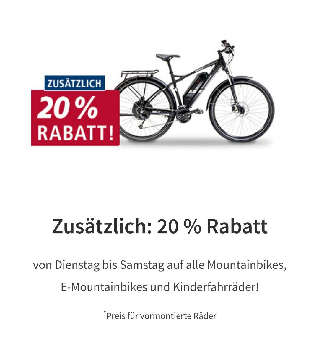[Real Märkte Bundesweit] zusätzlich 20% Rabatt auf alle E-Mountainbikes/Mountainbikes & Kinderfahrrader