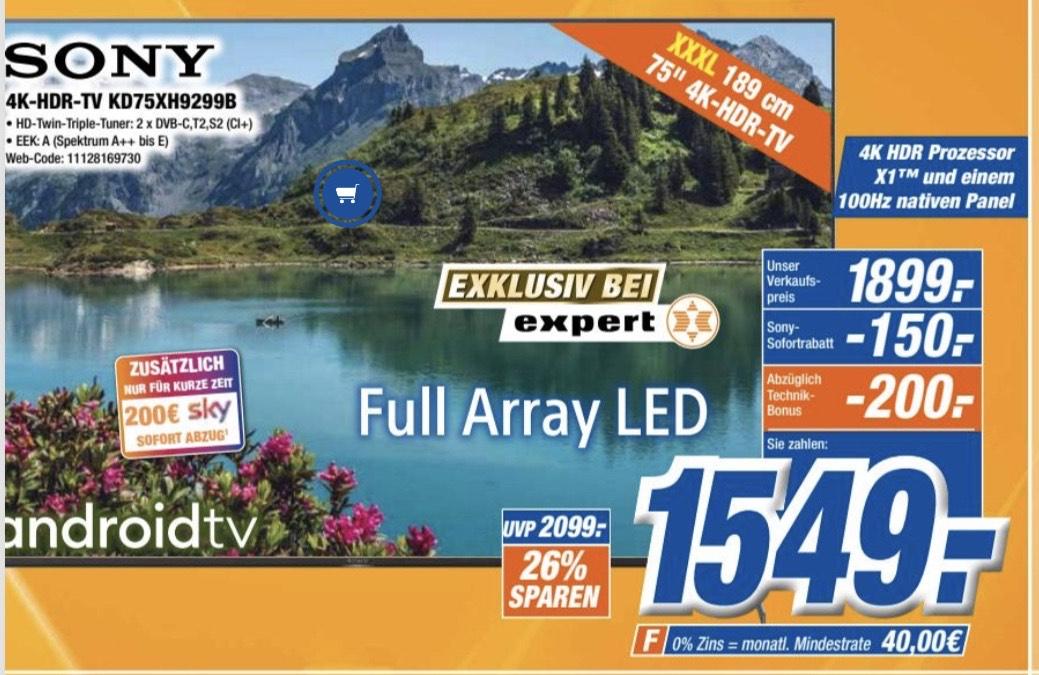 Lokal Expert Klein Sony 4K HDR TV KD75XH9299b / Sony OLED 65A8(9) 2179,70€/Samsung GU82TU8079U für 1468,90€