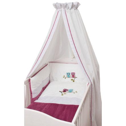 3-teiliges Bettset fürs Babybett von Be Be's Collection 'Eulen' in fuchsia / weiß (Bettwäsche, Nestchen, Himmel)