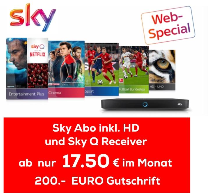 ZB: SKY Entertainment + Sport + Buli +HD +Q-Receiver inkl. Sky Go 360€ - 200€ Cashback effkt. 15,75 Mtl.