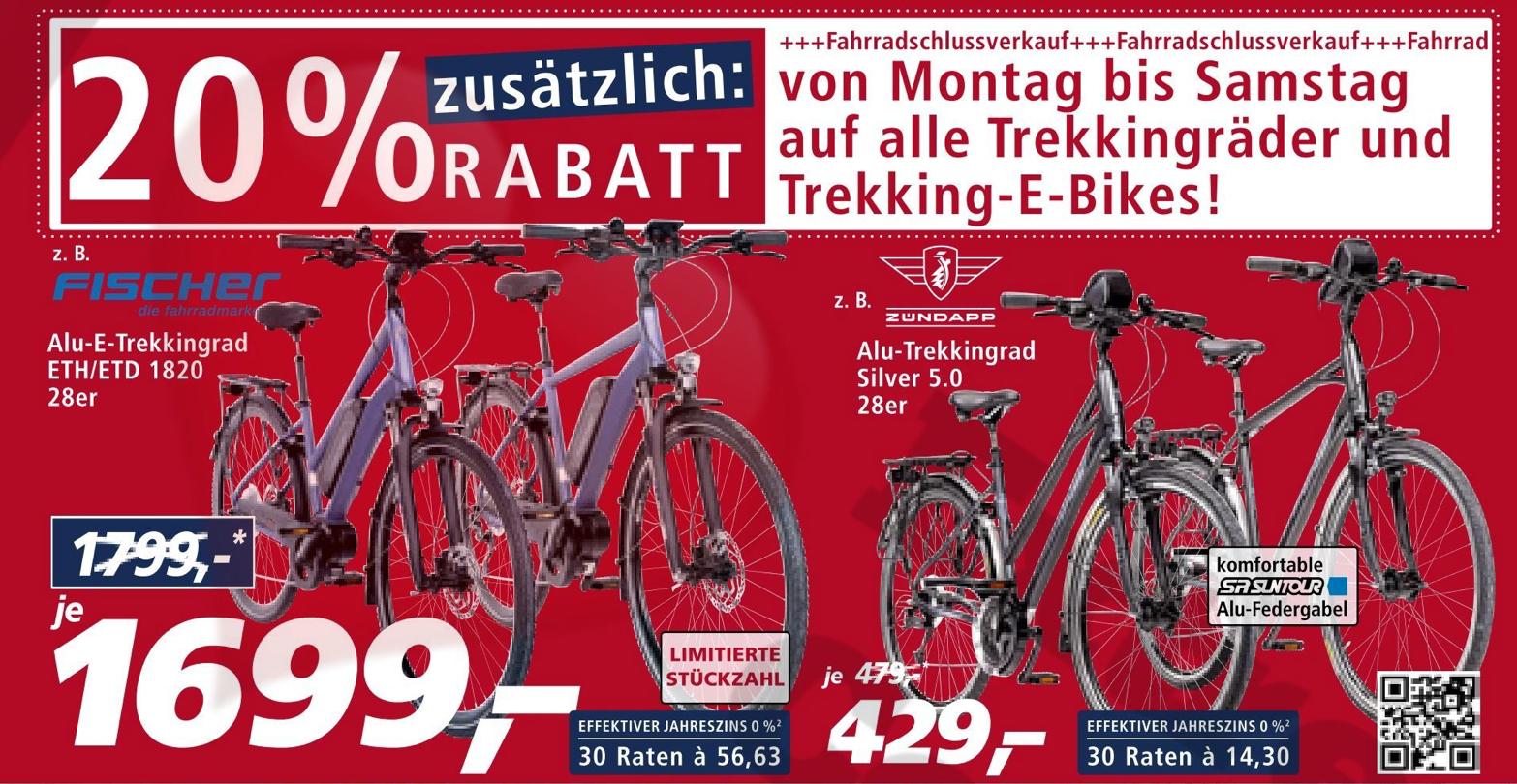 (REAL Lokal bundesweit) zusätzlich 20% Rabatt auf alle Trekking-Räder und Trekking-E-Bikes