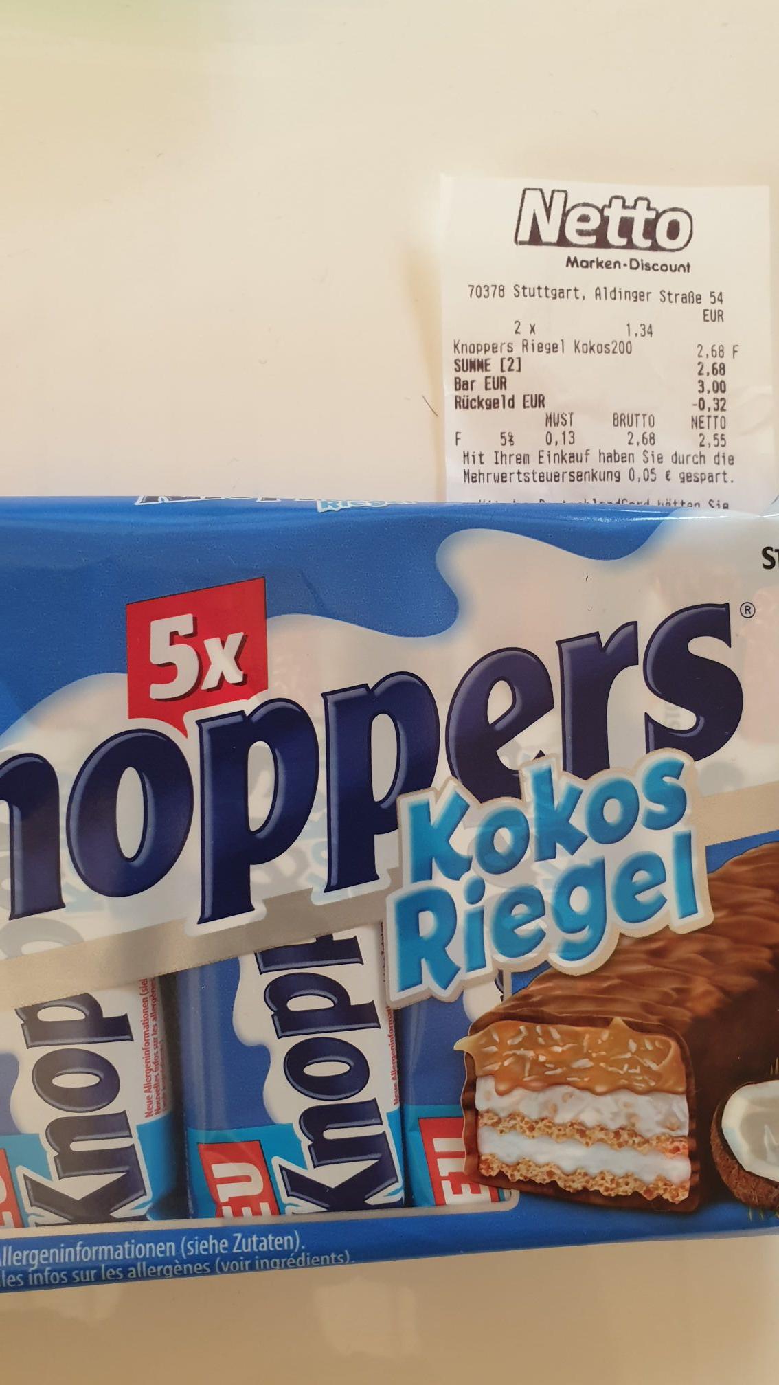 Knoppers 5x Riegel Kokos für nur 1,34€