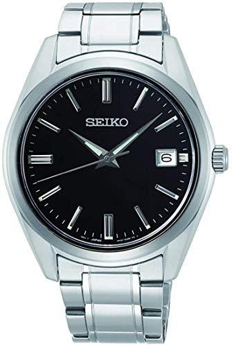 Seiko Herren Analog Quarz Armbanduhr mit Edelstahl Armband-Saphirglas