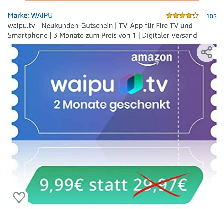 3 Monate Waipu.tv zum Preis von einem *Neukunden*