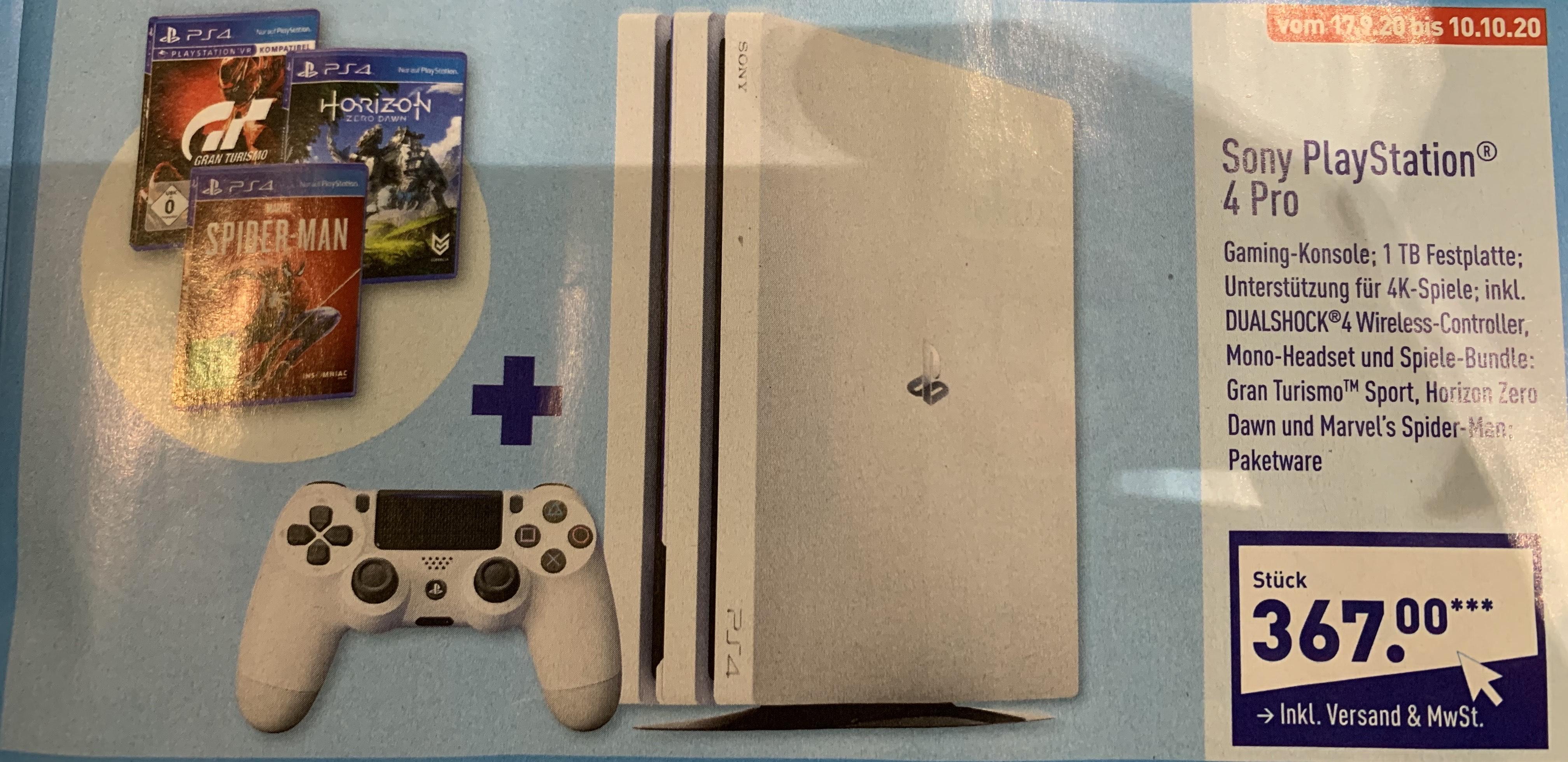 PlayStation 4 Pro, 1 TB, weiß - inkl. 3 Spielen