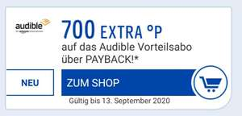 3 Monate je 4,95€ Audible Abo eCoupon 850 Paybackpunkte jederzeit kündbar