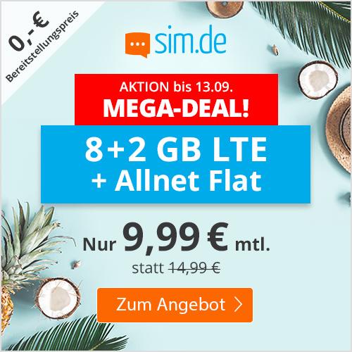 10GB LTE (50 Mbit/s) sim.de Tarif für mtl. 9,99€ + Allnet- & SMS-Flat (3 Monate / 24 Monate; Telefonica-Netz)