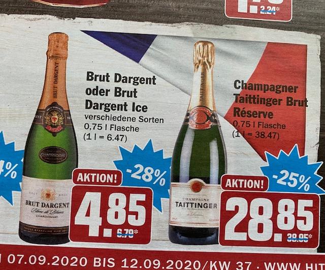 HIT Markt:Für das romantische Candle-Light-Dinner: Champagner Deals (Taittinger, Pommery, Heidsiek) - und Brut Dargent für 4,85€!