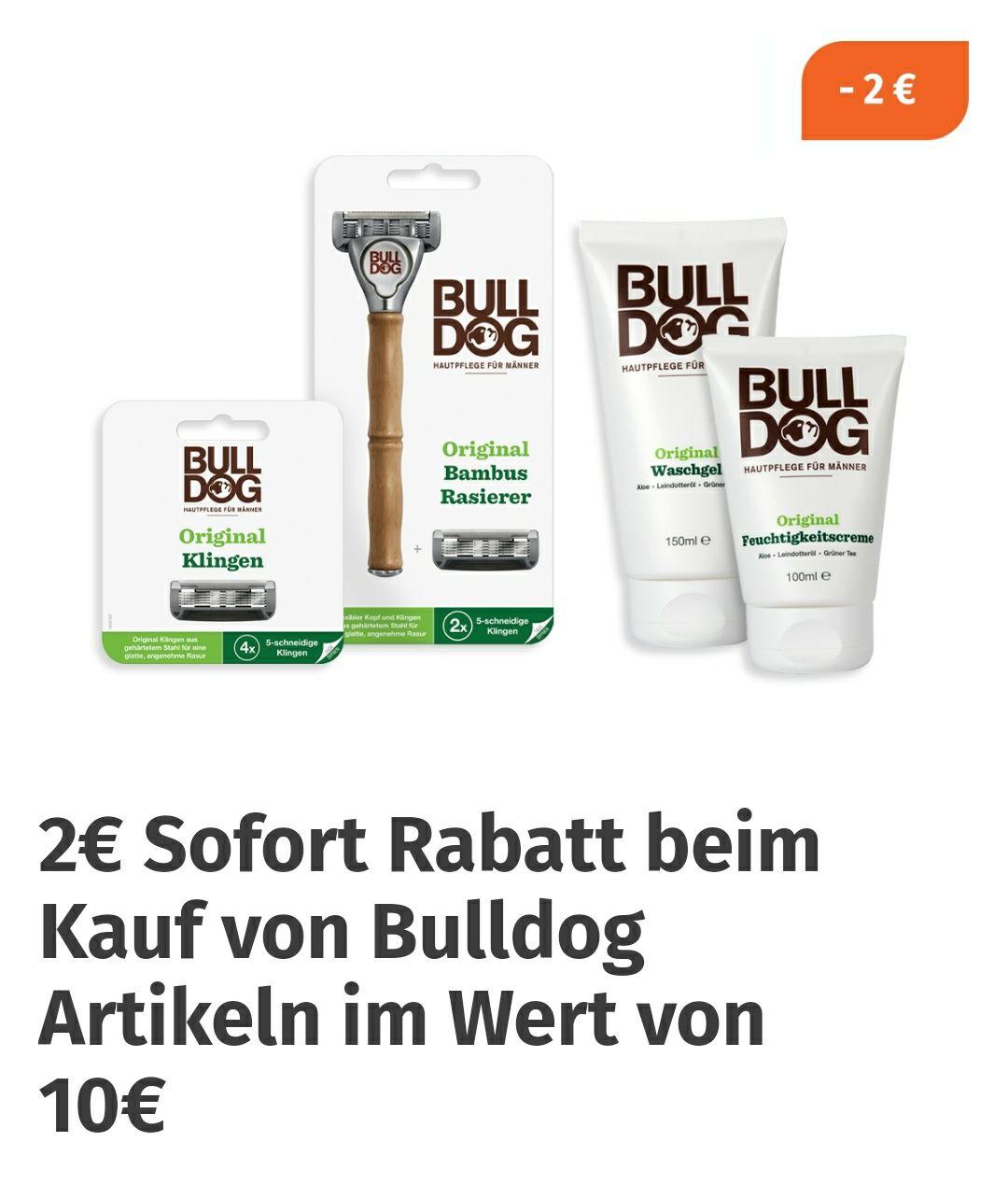2 Euro Sofortrabatt auf alle Bulldog-Artikel in der Müller-App