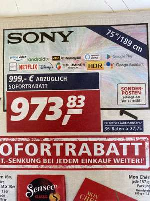 "[real Family & Friends 26.09.20] Sony 75"" LED-TV KD75XG8096BAEP"