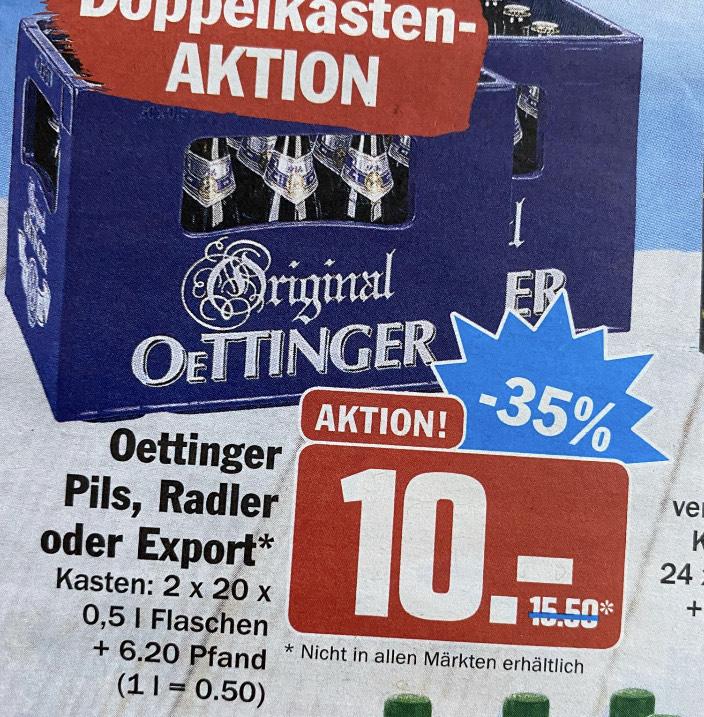 Zwei Kästen Oettinger Pils/Radler/Export für 10 EUR bei Hit