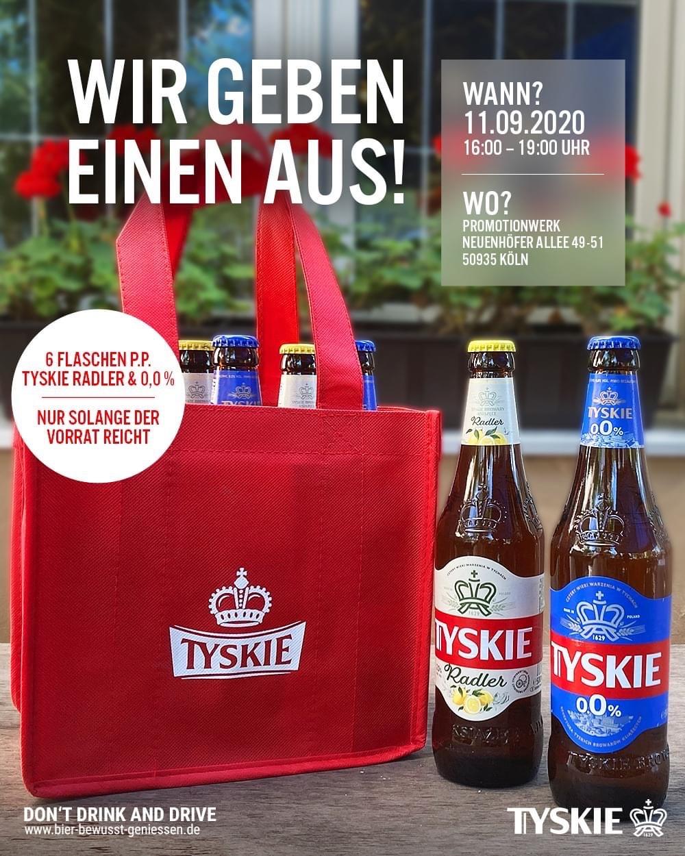 [Freebie] Tyskie 6 Flaschen Radler oder 0.0 in Köln am 11.9