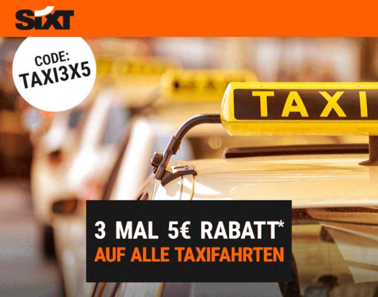 SIXT Taxi Gutschein 3x 5 Euro