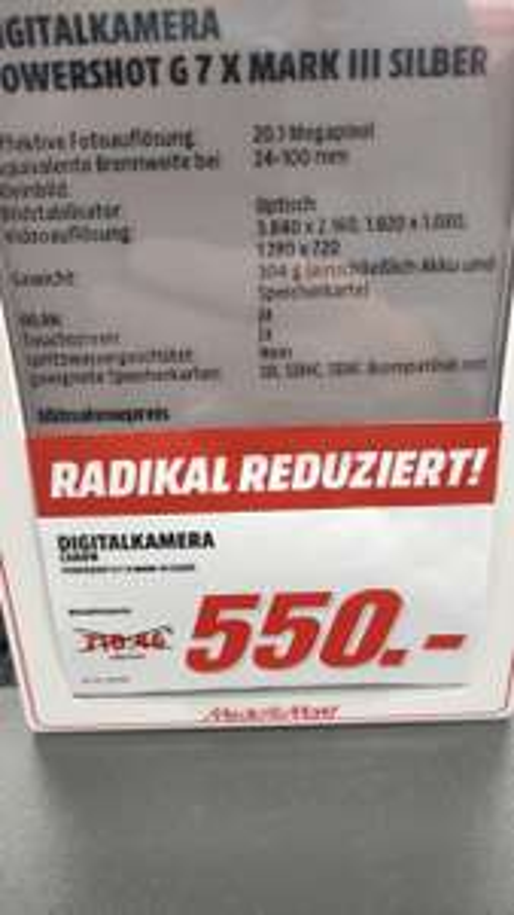 [Lokal MediaMarkt Berlin - Alex] Canon PowerShot G7 X Mark III