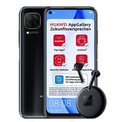 Huawei P40 Lite (kein Google) und Freebuds 3 im O2 Blau (5GB LTE, Allnet/SMS, VoLTE und VoWiFi) mtl. 11,99€ einm. 10,88€