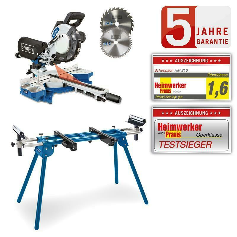 Scheppach Kapp-Zugsäge HM216 mit Laser und Alu-Verbreiterung, inkl. 2. Sägeblatt + Tisch UMF1600 / Bosch GTS 635-216 für 273,65 € [Bauhaus]